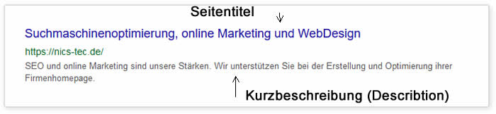 SERP mit Meta-Titel und Meta Description