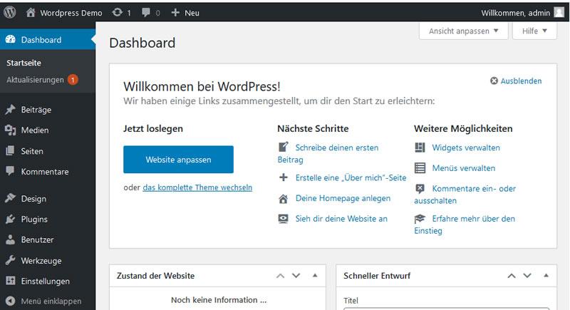 WordPress Administrationsbildschirm