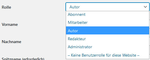 Benutzerrolle in WordPress