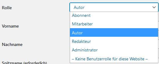 Benutzerrolle Mitarbeiter WordPress