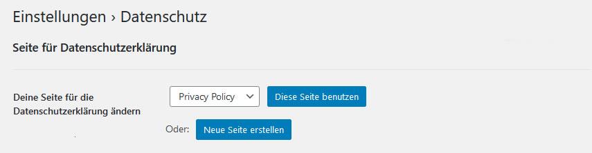 Datenschutz Seite