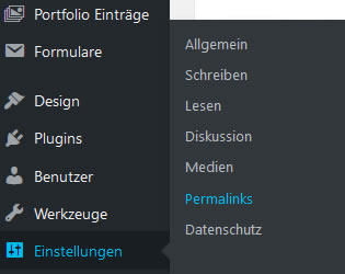 Einstellungen Permalinks WordPress