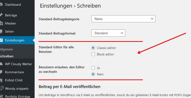 Gutenberg mit Classic editor Plugin