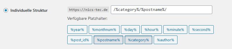 Individuelle URL Struktur