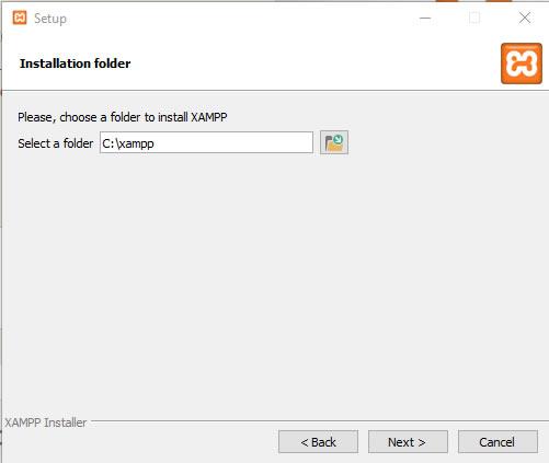 Installationsverzeichnis xampp
