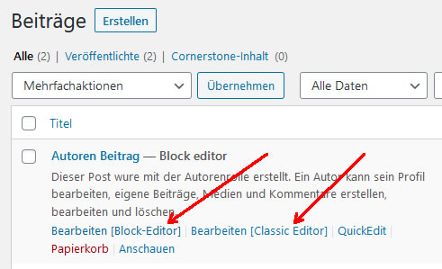 Klassik oder Block Editor