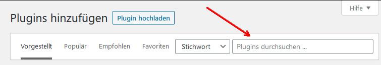 Plugin Installation mit WordPress