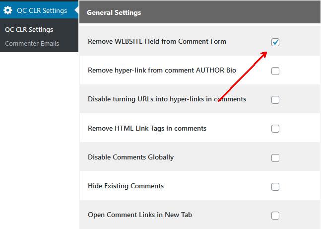 Webseiten-URL-Feld deaktivieren