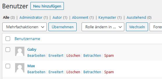 Wordpress Benutzer bearbeiten