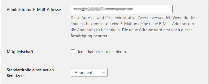 Wordpress Einstellungen E-Mail
