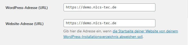 Wordpress Einstellungen URLs