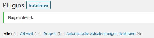 Wordpress-Plugin aktiviert