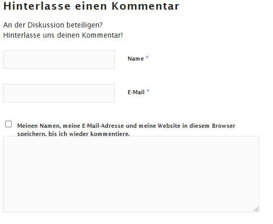Wordpress-Seite ohne Webseiten-URL im Kommentar Formular