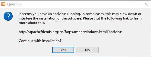 XAMPP Viruswarnung Installation