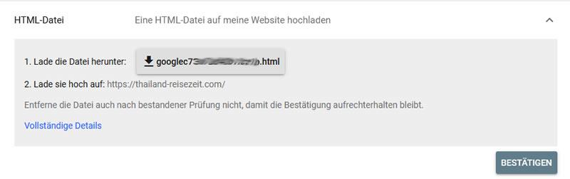 Bestätigungsmethode HTML-Datei