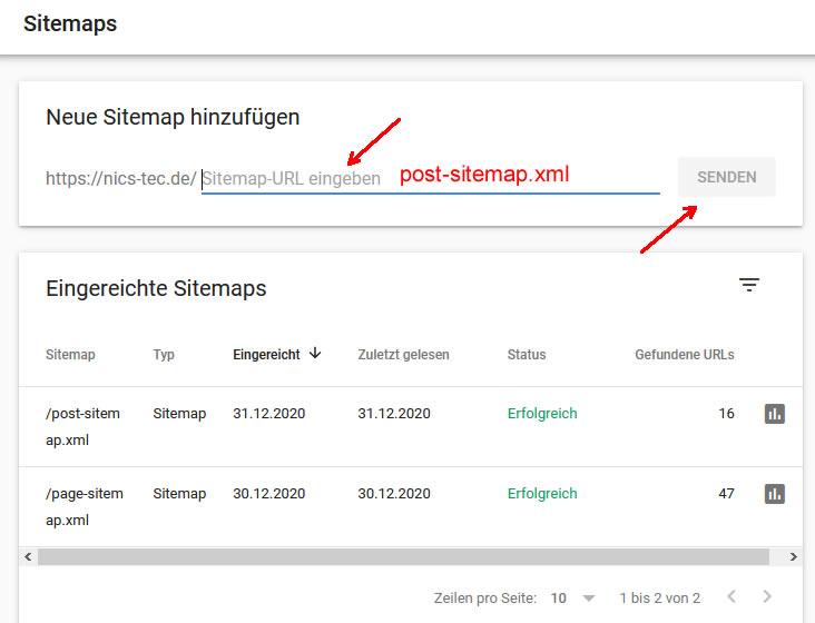 Sitemap der Search Console hinzufügen