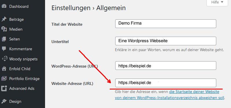 URL ihrer Webseite in WordPress
