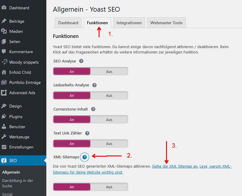Yoast XML-Sitemap anzeigen